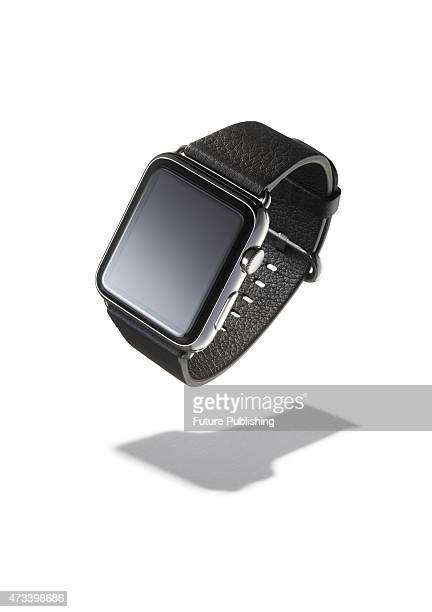 Apple Watch smartwatch with a black leather strap and classic buckle taken on May 6 2015