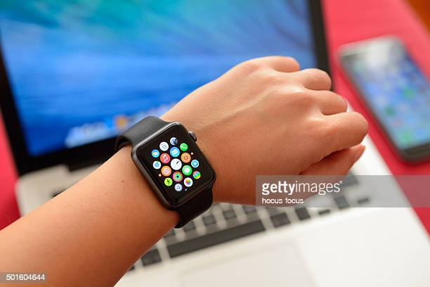 Apple Watch Sport with Apple computers