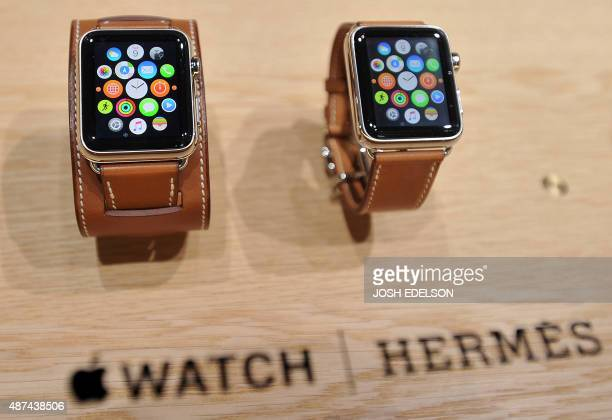 Apple watches are seen with bands made from French luxury goods maker Hermes during an Apple media event in San Francisco California on September 9...