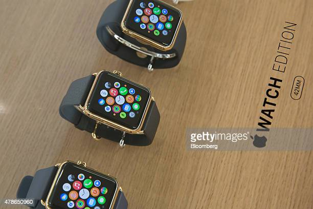 Apple Watches sit on display at an Apple Inc store in Mexico City Mexico on Friday June 26 2015 Apple Inc began selling its smartwatch in Mexico...