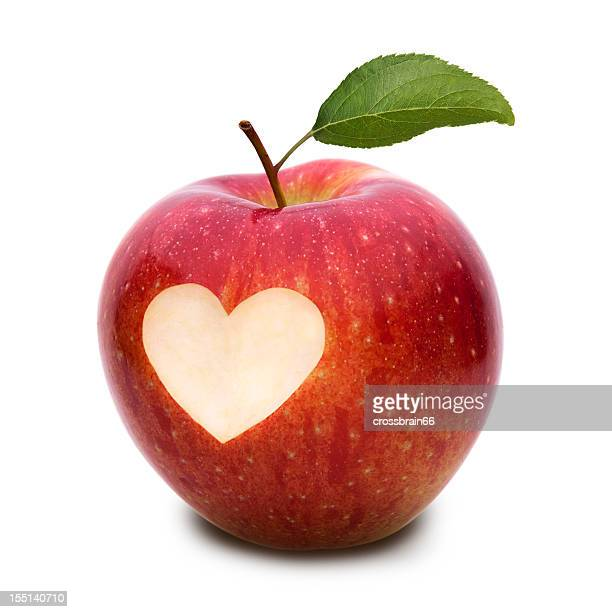 apple with heart symbol and leaf