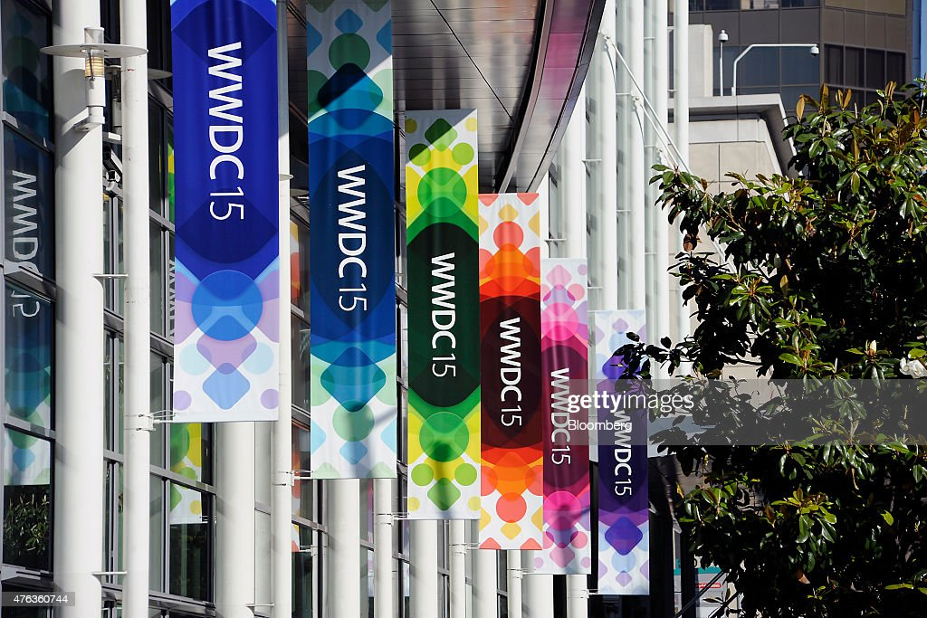 Apple World Wide Developers Conference signage is displayed outside of the Moscone Center before the start of the event in San Francisco California...