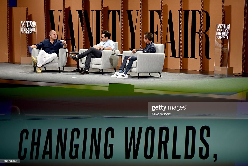 Multiple exposures were combined in camera to produce this image.) (L-R) AppleChief Design Officer Jonathan Ive, filmmaker J. J. Abrams and Imagine Entertainment Co-Founder Brian Grazer speak onstage during 'Changing Worlds, Inventing Worlds' at the Vanity Fair New Establishment Summit at Yerba Buena Center for the Arts on October 7, 2015 in San Francisco, California.