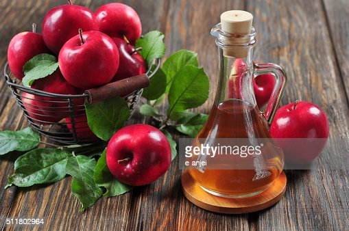 apples and apple cider vinegar : Stock Photo