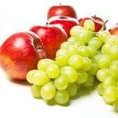 Apples and Muscat grapes, white background