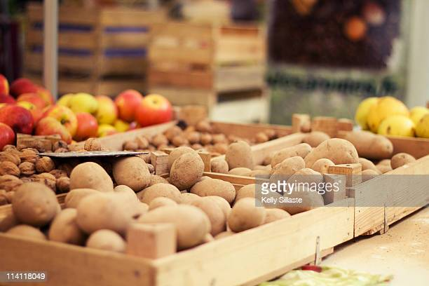 Apples and potatoes at a French market