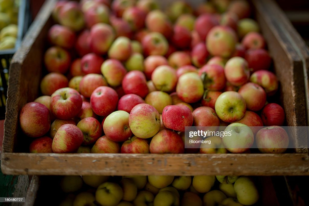 Apples are displayed for sale at the farm stand of Stone Ridge Orchard in Stone Ridge, New York, U.S., on Thursday, Sept. 12, 2013. With apple harvest now officially underway across the state of New York, nearly 700 apple growers are expected to pick about 32 million bushels by the time harvest concludes in November, according to New York Apple Association (NYAA) reports. Photographer: Craig Warga/Bloomberg via Getty Images