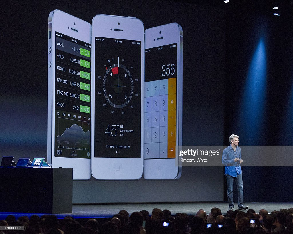 Apple's Craig Federighi, Vice President of Software Engineering, introduces iOS7 at a keynote address during the 2013 Apple WWDC at the Moscone Center on June 10, 2013 in San Francisco, California. Apple's annual developer conference runs through June 14.