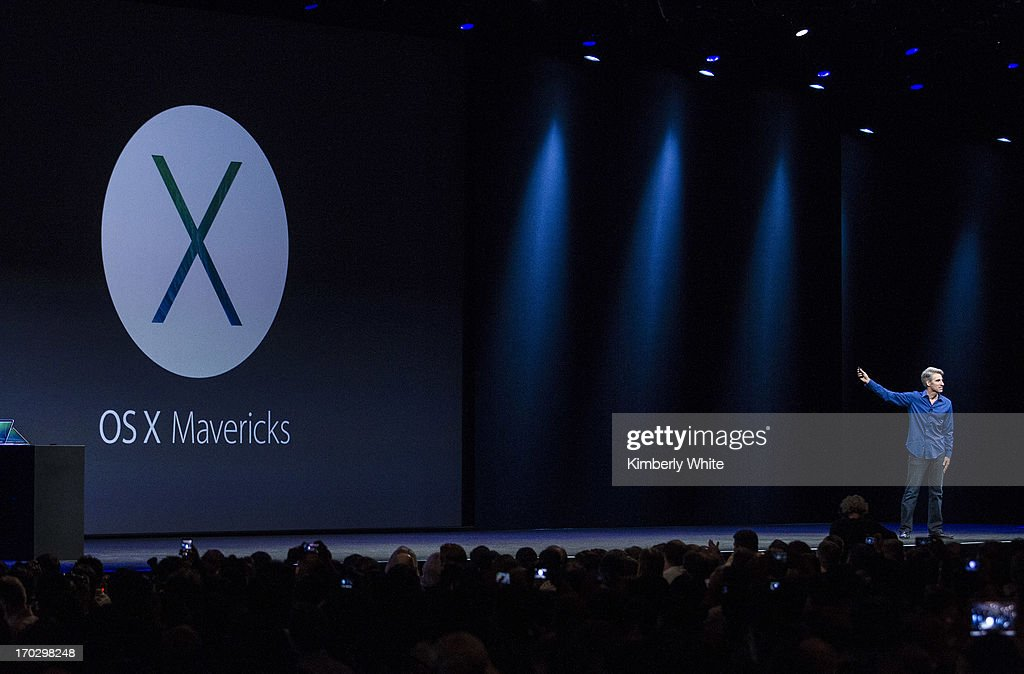 Apple's Craig Federighi, vice president of Software Engineering, introduces OS X Mavericks during a keynote address during the 2013 Apple WWDC at the Moscone Center on June 10, 2013 in San Francisco, California. Apple introduced a new mobile operatng system iOS 7, hardware upgrades and a new operating system OS X Mavericks during the keynote qaddress. The annual developer conference runs through June 14.