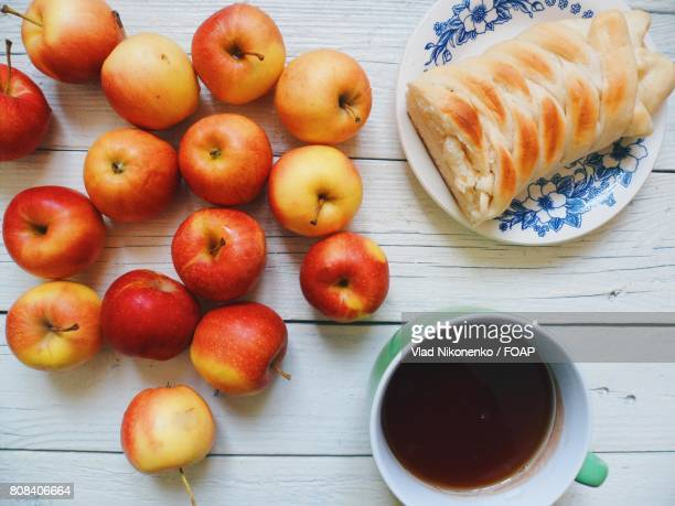 Apples fruits and pie with coffee
