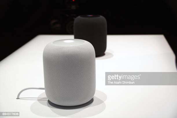 Apple's Homepod are displayed during the 2017 Apple Worldwide Developer Conference at the San Jose Convention Center on June 5 2017 in San Jose...