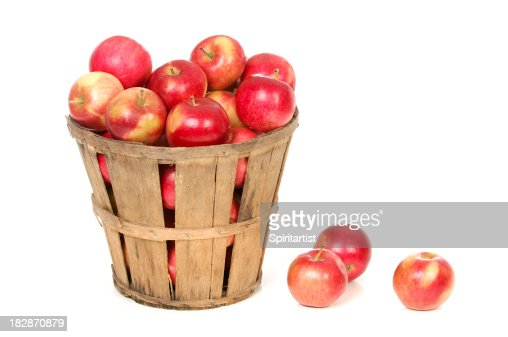 Apples In a Farm Basket on White