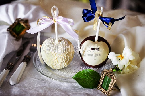Apples in chocolate wedding table decoration design stock photo apples in chocolate wedding table decoration design stock photo junglespirit Image collections