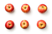 Apples isolated on white background. Champion apple. Top view