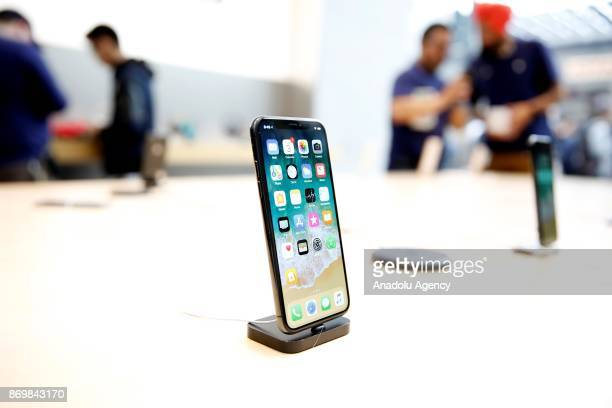 Apple's New iPhone X goes on sale at an Apple Store in California's Palo Alto United States on November 03 2017 Thousands amassed outside Apple...
