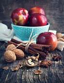 Apples, nuts, anise and cinnamon for baking apple pie