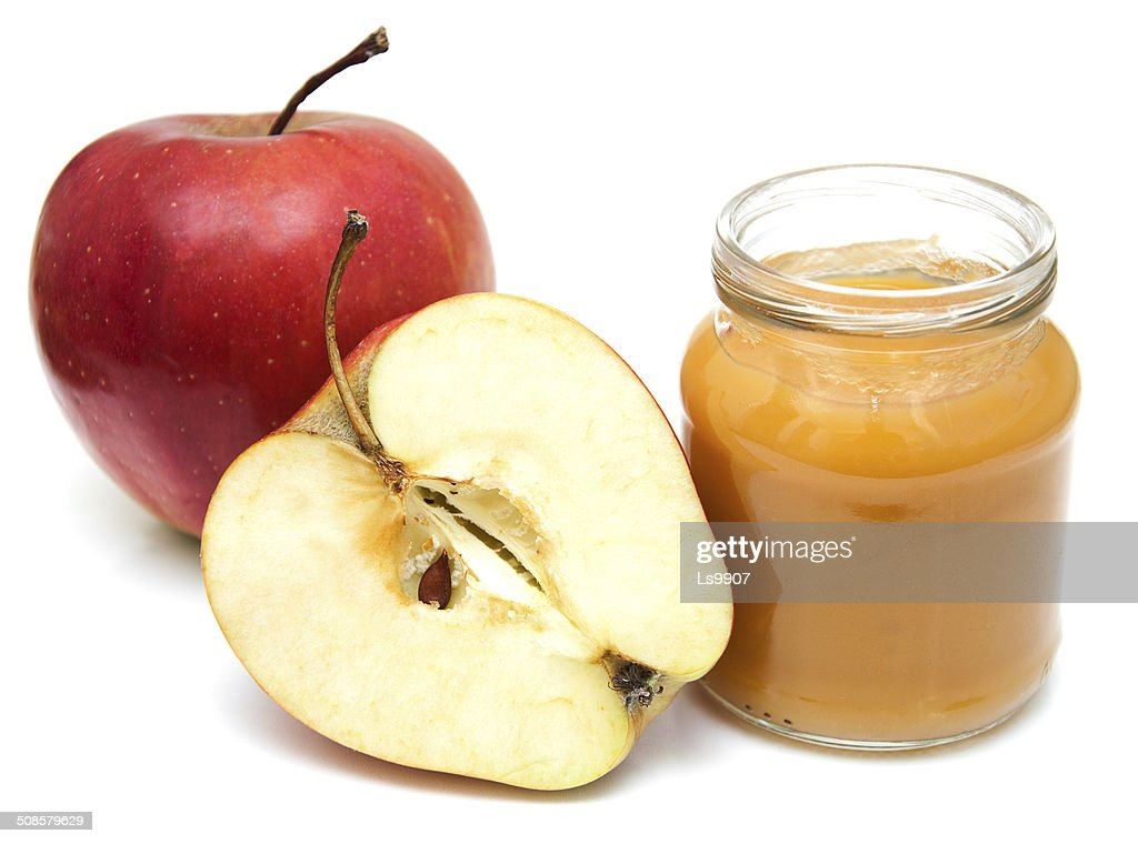 Apples puree in jar : Stock Photo