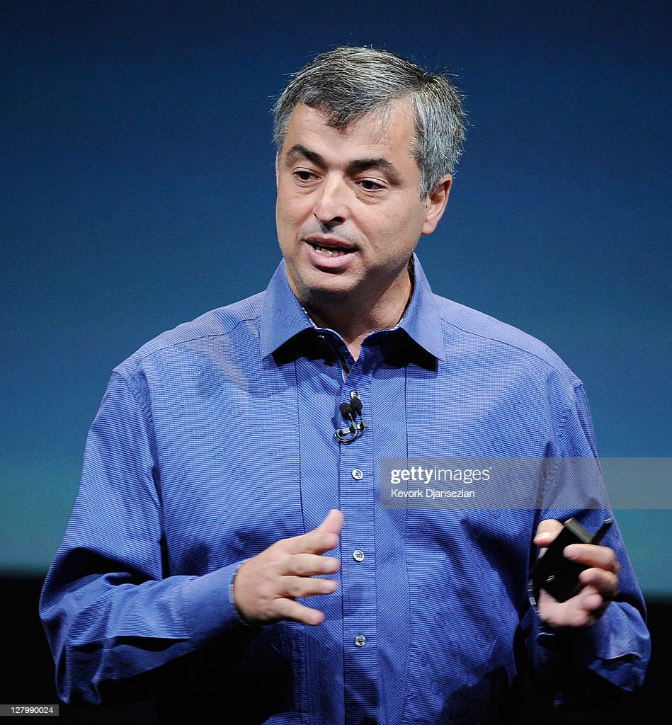 Apple's senior vice president of Internet Software and Services Eddy Cue speaks about the 'Find My Friends' application during introduction of the new iPhone 4s at the company's headquarters October 4, 2011 in Cupertino, California. The announcement marks the first time new CEO Tim Cook introduced a new product since Apple co-founder Steve Jobs resigned in August.