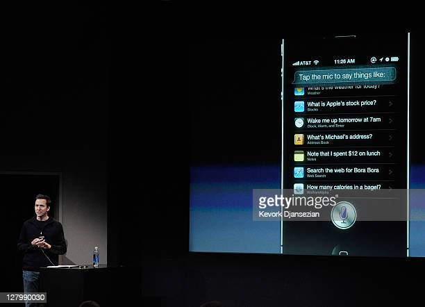 Apple's Senior Vice President of iOS Scott Forstall speaks about the new voice recognition app called Siri at the event introducing the new iPhone 4s...