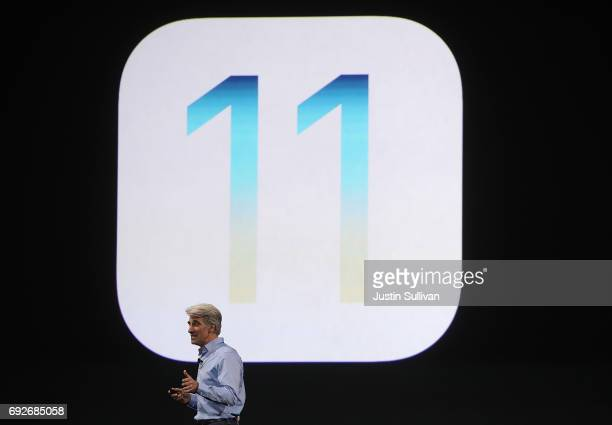 Apple's Senior Vice President of Software Engineering Craig Federighi speaks during the opening keynote address the 2017 Apple Worldwide Developer...