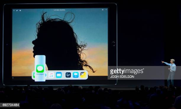 Apple's Senior Vice President of Software Engineering Craig Federighi speaks on stage about the new iPad Pro at San Jose McEnery Convention Center...