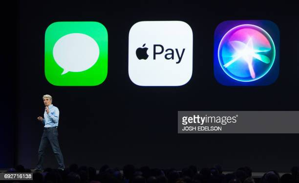 Apple's Senior Vice President of Software Engineering Craig Federighi speaks on stage about Apple Pay during Apple's World Wide Developers Conference...