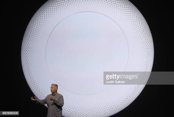 Apple's Senior Vice President of Worldwide Marketing Phil Schiller announces HomePod as he speaks during the opening keynote address the 2017 Apple...