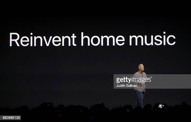 Apple's Senior Vice President of Worldwide Marketing Phil Schiller speaks during the opening keynote address the 2017 Apple Worldwide Developer...