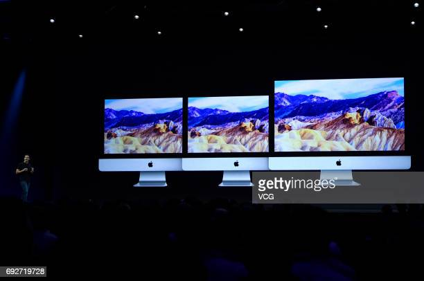 Apple's Vice President Hardware Engineering John Ternus speaks during the opening keynote address the 2017 Apple Worldwide Developer Conference at...