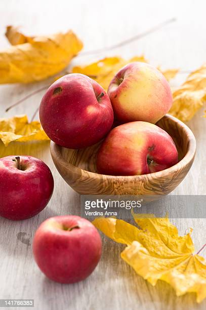 Apples with autumn leaves