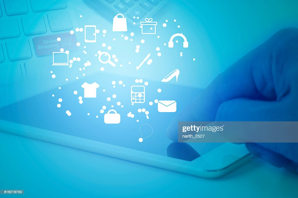 application software icons on tablet, shopping online concept : Stock Photo