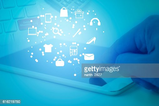 application software icons on tablet, shopping online concept : Stockfoto