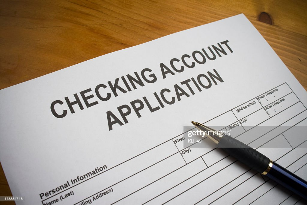 Application to open a checking account. : Stock Photo