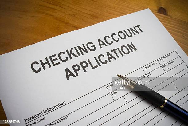 Application to open a checking account.