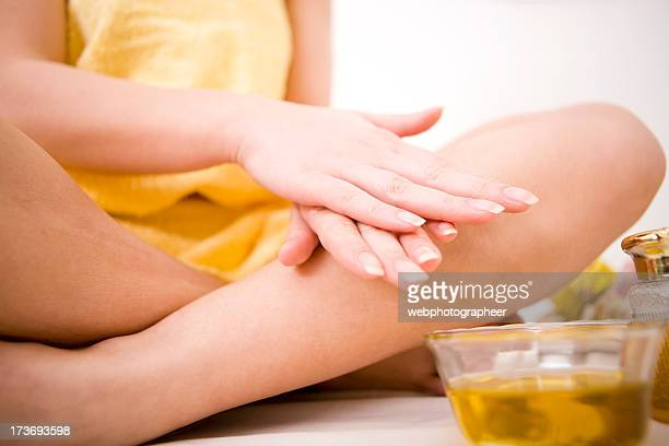 Applying oil massage