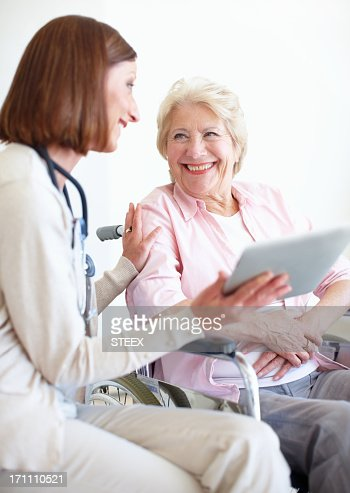 Appreciating her professional and friendly care : Stock Photo