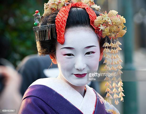 Apprentice geisha or maiko in the streets of Kyoto,Japan
