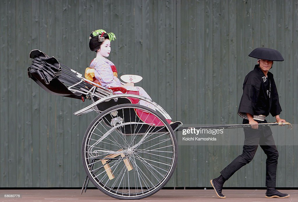 Apprentice Geisha or Maiko Toshisuzu rides in a rickshaw during Japan Week 'Maiko Hospitality' at the 2005 World Exposition on June 7 2005 in...