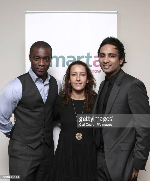 Apprentice winner Tim Campbell Shaa Wasmund the founder of Smartacom and Imran Hakim who secured investment for the site on the Dragons Den TV...