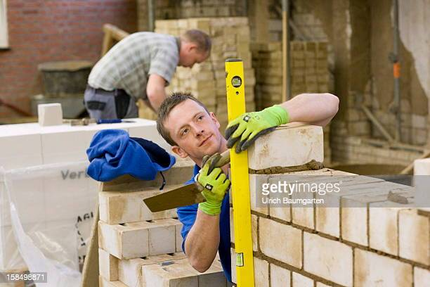 Apprenticeship as bricklayer in the Butzweilerhof education center of chamber of commerce Cologne on December 10 2012 in Cologne Germany The...