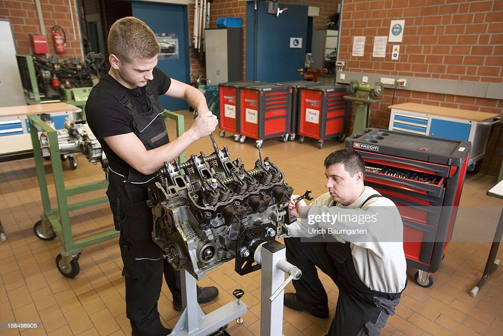 Apprenticeship as motorcar mechanic in the Butzweilerhof education center of chamber of commerce Cologne on December 10, 2012 in Cologne, Germany. The Butzweilerhof in Cologne-Ossendorf, which is the older of the two centres of learning, places emphasis on courses that are mandatory to almost all trainees in the handicraft in addition to the training at their employers workshops and the instruction at vocational schools, every year these courses have about 10,000 participants.