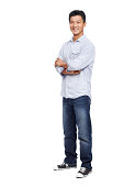 Happy young Asian man standing with his arms folded and smiling while isolated on white - copy space