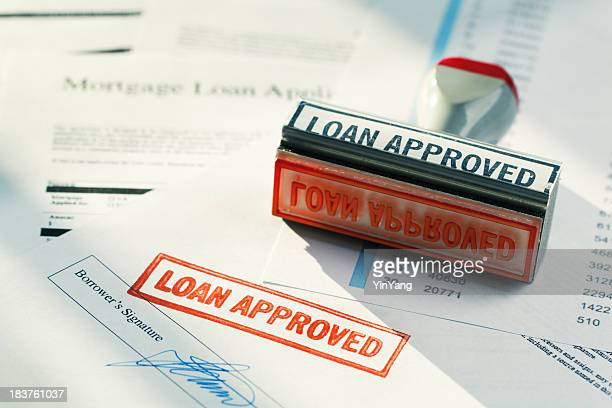 """LOAN APPROVED"" Approval Red Rubber Stamp Approving Mortgage Application Document"
