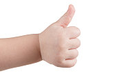 Approval thumbs up like sign, caucasian child hand gesture isolated over white background