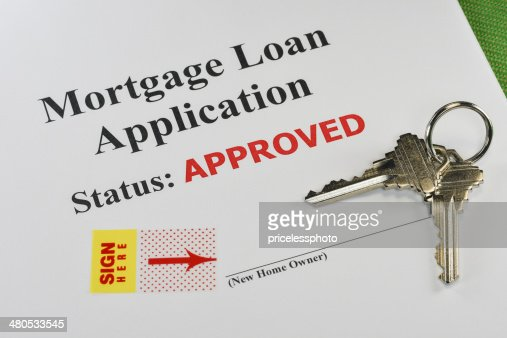 Approved Real Estate Mortgage Loan Document Ready For Signature : Stock Photo