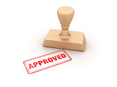 Approved Rubber Stamp - White Background - 3D Rendering