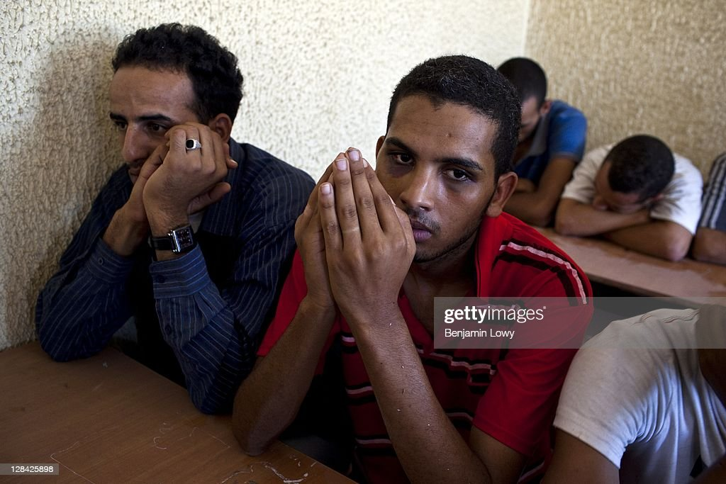Approximately 150 suspected Gaddafi loyalist soldiers are held captive in an elementary school on August 28 2011 in Tripoli, Libya.