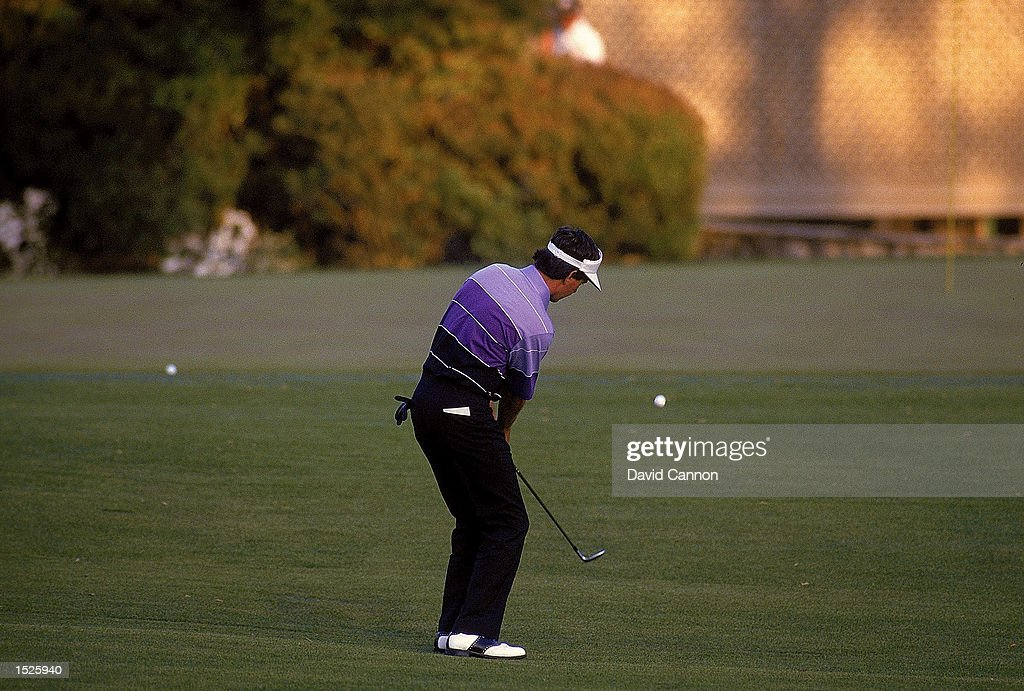 Larry Mize of the USA chips in on the second playoff hole number 11 to win the masters during the US Masters 1987 held at the Augusta National Golf...