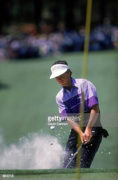 Larry Mize of the USA on his way to victory during the US Masters 1987 held at the Augusta National Golf Course in Augusta Georgia Mandatory Credit...
