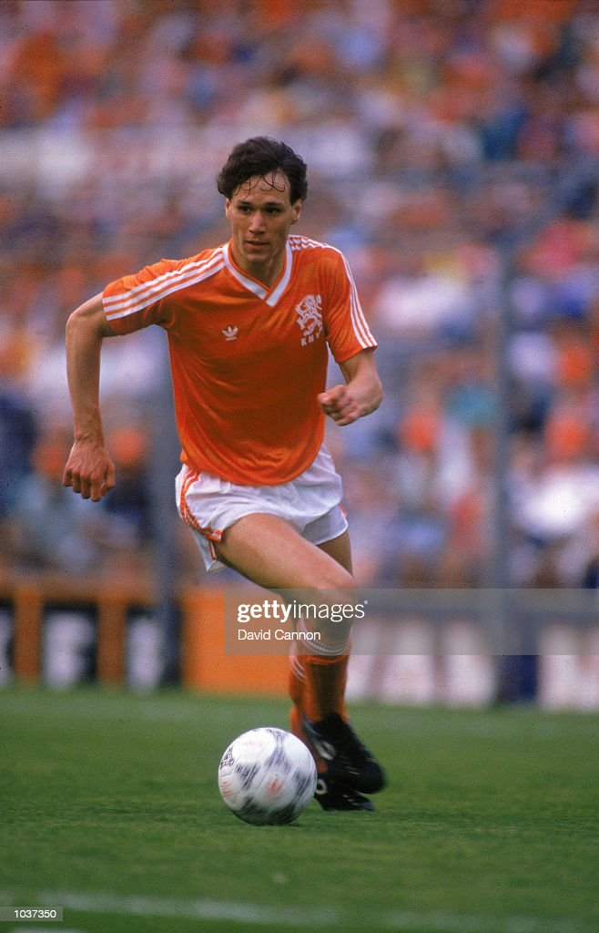 Marco Van Basten of Holland in action during the European Championship Qualifier against Hungary Holland won the game 20 Mandatory Credit Dave Cannon...